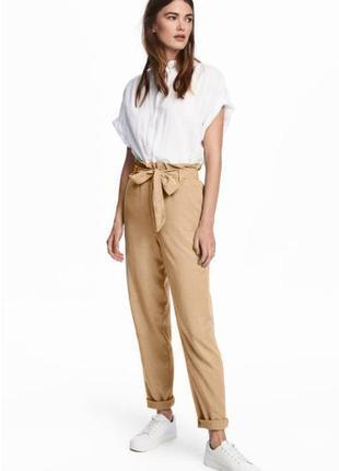 Натуральные брюки из лиоцелла штаны с поясом-бантом и оборками высокая посадка