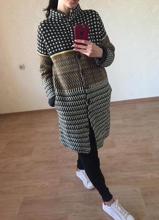 Вязаное пальто кардиган stefanel s