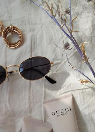 Очки окуляри солнцезащитные солнце круглые овальные черные новые5 фото