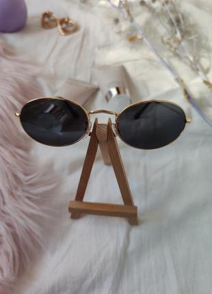 Очки окуляри солнцезащитные солнце круглые овальные черные новые6 фото