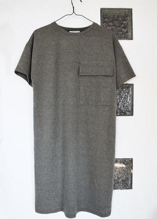 Платье футболка с карманом оливкового цвета zara