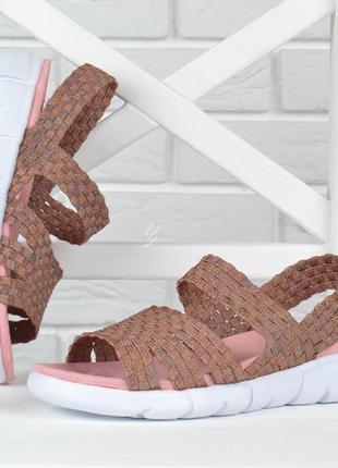 Босоножки женские на платформе sopra текстильные плетение розовые
