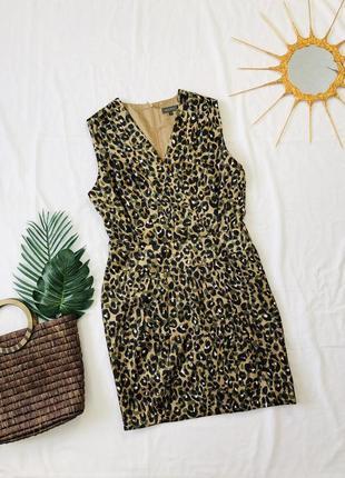 Короткое леопардовое платье/ леопардова атласна сукня