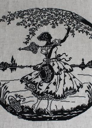 """Вышитая крестиком картина """"дама в саду"""""""