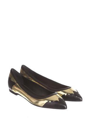 Туфли лодочки на плоском ходу черно-золотистые patrizia pepe 37, 38 рр.