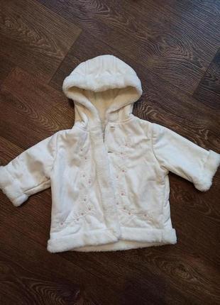 Крутая белая дублёнка от jasper conran на 6-9 месяцев