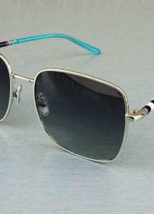 Burberry очки женские солнцезащитные черные с голубыми дужками