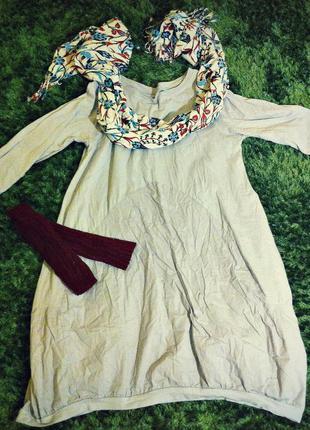 Серое платье бохо, casual, sport, рукав три четверти, хлопок, onesize