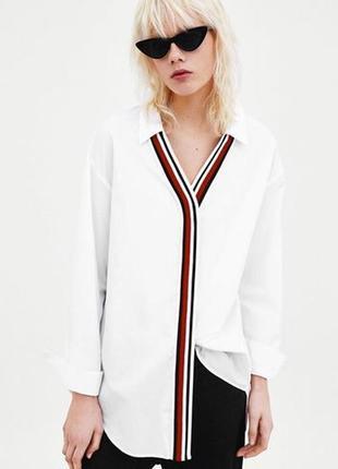 Белая оверзайз рубашка zara