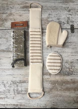 Мочалка спонж рукавица джутовая натуральная для тела