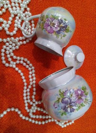 Чайный сервиз барановка сахарница и сливочник фарфор люстр деколь