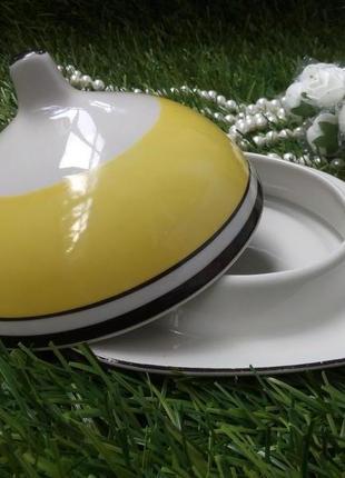 Масленка чайная довбыш фарфоровая блюдо с крышкой для масла винтаж