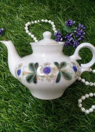 Чайник заварной полонное фарфоровый с ручной росписью винтаж