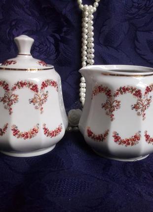 Сахарница миниатюра от чайного сервиза ссср сумского фарфорового фарфоровый с ручной росписью