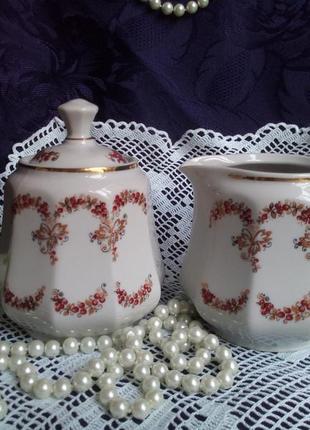 Чайный сервиз ссср сумской фз сливочник и сахарница фарфоровый ручная роспись