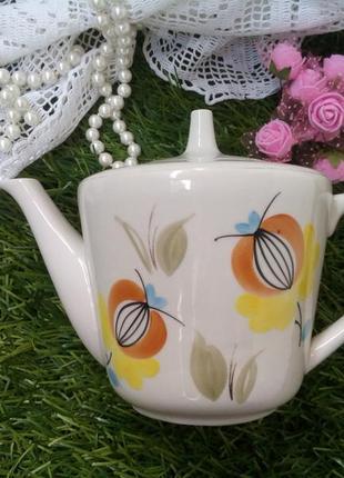 Чайник заварочный довбыш фарфоровый винтаж крупный с ручной росписью