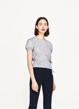 🌿объёмная блуза на резинке zara ассиметричная футболка на завязках