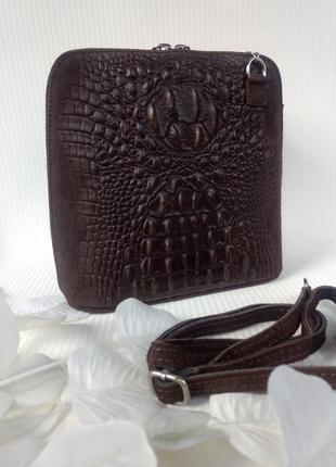 Модная сумочка из натуральной кожи и замши шоколадная.