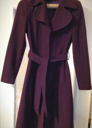 Шерстяное пальто цвета марсала, пальто шерсть, бордовое пальто, демисезонное пальто