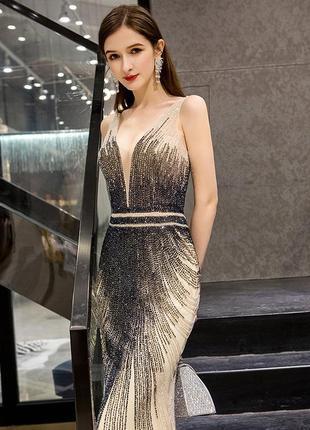 Красивое вечернее платье. вечірня сукня. платье рыбка ручной работы из бисера