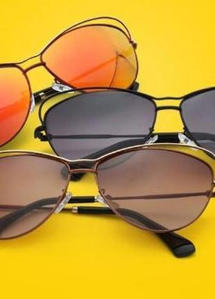 Женские солнцезащитные очки с металлической оправой и красно-оранжевым зеркалом италия