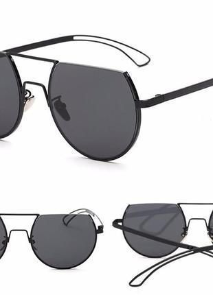 Круглые черные дымчатые антирефлекс очки от солнца с двойной переносицей обрезанные сверху1 фото