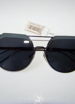 Круглые черные дымчатые антирефлекс очки от солнца с двойной переносицей обрезанные сверху5 фото