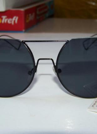 Круглые черные дымчатые антирефлекс очки от солнца с двойной переносицей обрезанные сверху4 фото