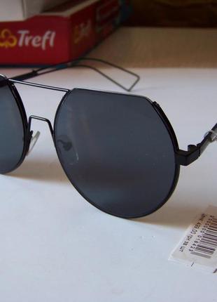 Круглые черные дымчатые антирефлекс очки от солнца с двойной переносицей обрезанные сверху2 фото