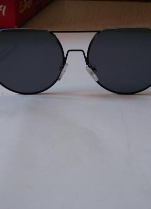 Круглые черные дымчатые антирефлекс очки от солнца с двойной переносицей обрезанные сверху6 фото