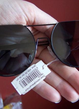 Круглые черные дымчатые антирефлекс очки от солнца с двойной переносицей обрезанные сверху3 фото