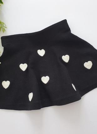 Теплая юбка в сердечки