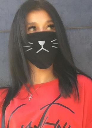 Черная защитная повязка-маска для лица с молодежным принтом (04 jdnn)