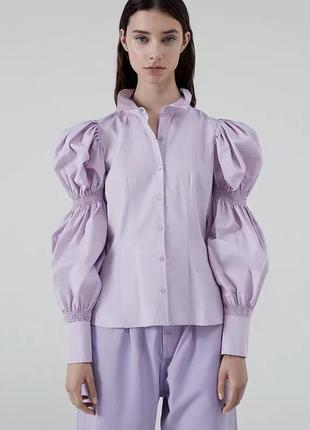 Блузка, рубашка зара zara с объёмными рукавами воланами