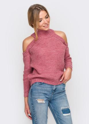 Трендовый новый свитер с открытыми плечами