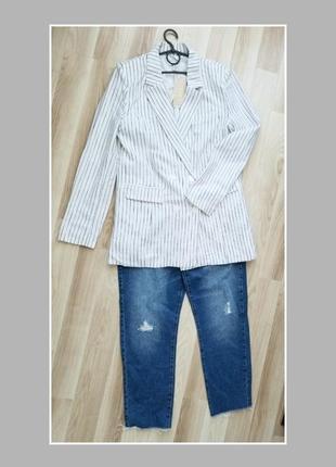 Натуральный базовый двубортный пиджак в полоску блейзер amisu