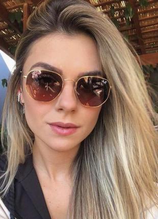 Солнцезащитные многоугольные коричневые очки в золотой оправе, сонцезахисні окуляри