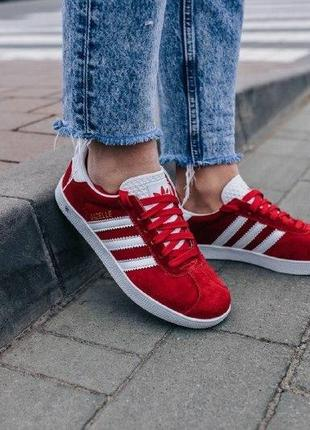 Кроссовки adidas gazelle red ( aдидас газель ) кеды красные с белой подошвой