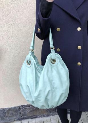Бирюзовая сумка-бочонок,торба-мешок,кож.зам accessorize