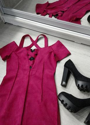 Бордовое замшевое платье вечернее veronica poliit с переплётом