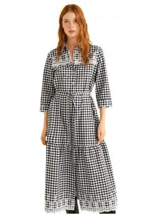 Очень стильное красивое натуральное клетчатое платье