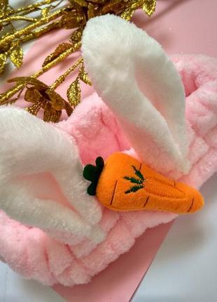 Махровая косметическая повязка на голову (для волос) с ушками зайчика. розовая