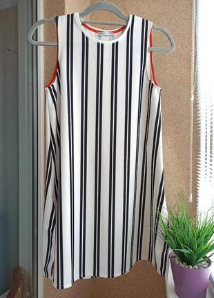 Красивая стильная удлиненная трикотажная блуза / туника в горизонтальную полоску zara
