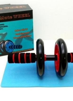Ролик-колесо для пресса ab wheel + коврик