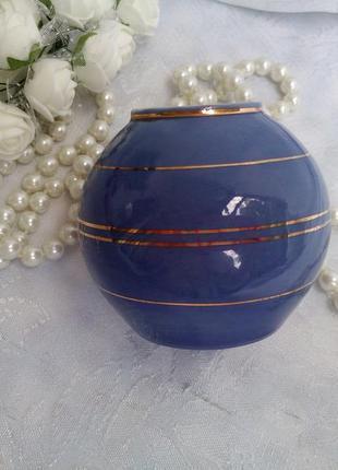 Ваза ссср сысерть фарфоровая кобальт миниатюра шар вазочка винтаж