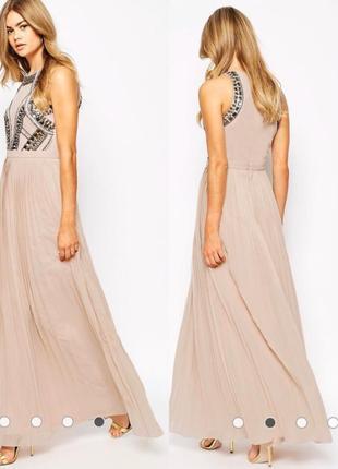 Вечернее выпускное платье в бисере пайетках и кристаллах
