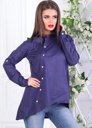Асимметричная рубашка с косой застежкой на пуговицы