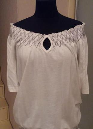 Футболка блуза esprit белая с открытыми плечами раз.12 (пог 46+)