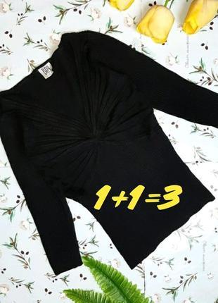 🎁1+1=3 стильный чёрный свитер свитерок с декольте bay, размер 42 - 44
