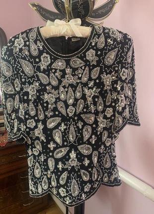 Красивая блуза с бисером и камушками. кофта вечерняя